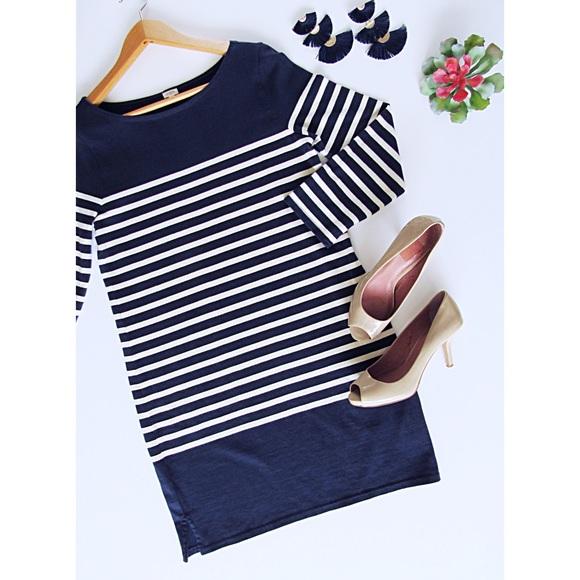 J. Crew Dresses & Skirts - Navy & Cream Striped J. Crew Sweater Dress Size S